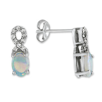 14K White Gold Opal and Diamond Earrings