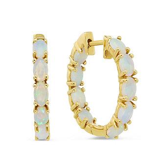 14K Yellow Gold Oval Opal Hoop Earrings