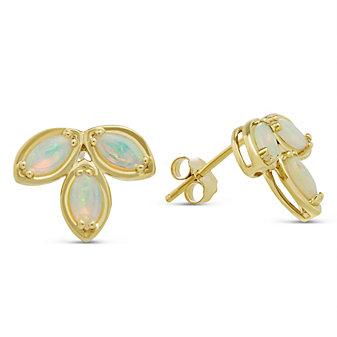 14K Yellow Gold Opal Cluster Earrings