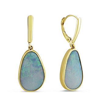 14K Yellow Gold Opal Bezel Set Drop Earrings