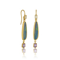 Lika_Behar_24K_Yellow_Gold_Opal_Doublet,_Diamond_Baguette,_and_Fancy_Cut_Pink_Sapphire_Drop_Earrings