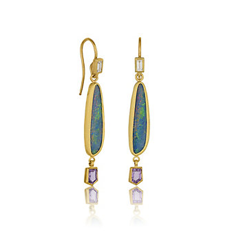 Lika Behar 24K Yellow Gold Opal Doublet, Diamond Baguette, and Fancy Cut Pink Sapphire Drop Earrings