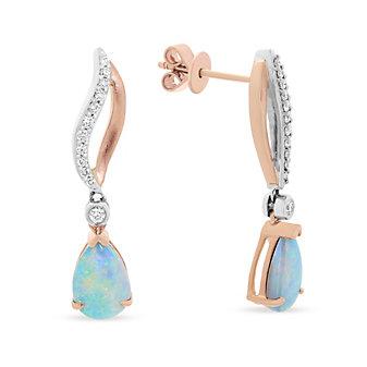 14k rose & white gold pear shaped opal & diamond drop earrings