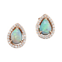 14K_Rose_Gold_Diamond_Halo_&_Opal_Pear_Shaped_Earrings