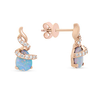 14k rose gold pear shaped opal & diamond wrap post earrings