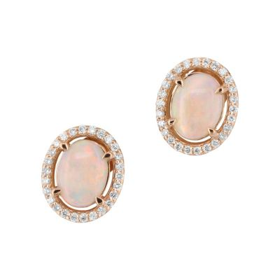 14K Rose Gold Diamond Halo & Opal Oval Shaped Earrings