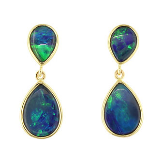 14K Yellow Gold Opal Doublet Pear Shaped Double Drop Earrings