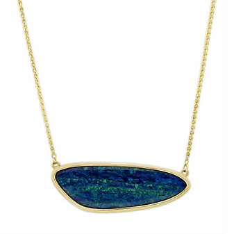 14K Yellow Gold Opal Doublet Necklace, 18.5""