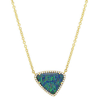 18K Yellow Gold Assembled Boulder Opal and Round Diamond Necklace