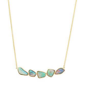 14K Yellow Gold Opal Bezel Set Necklace
