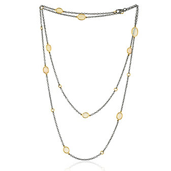 Lika Behar 24K Yellow Gold and Oxidized Sterling Silver Rosecut Opal 9 Station Necklace