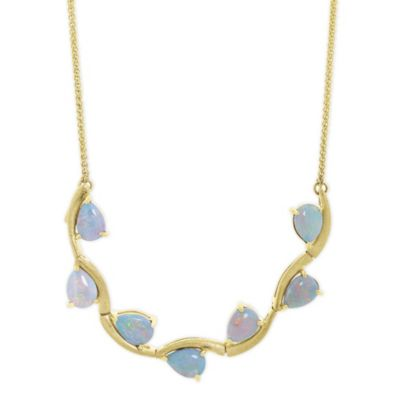 14K yellow gold pear shaped opal 7 station flex necklace, 18""