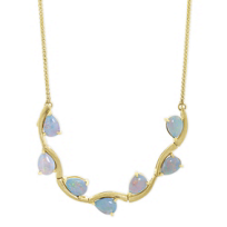 14K_yellow_gold_pear_shaped_opal_7_station_flex_necklace,_18""