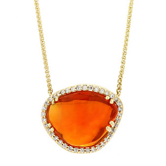 """14K Yellow Gold Freeform Fire Opal and Diamond Halo Necklace, 17.5"""""""