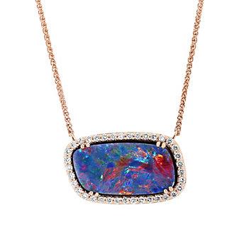 14K Rose Gold Opal Doublet & Round Diamond Halo Necklace