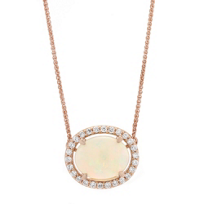 14K_Rose_Gold_Oval_Opal_and_Diamond_Halo_Necklace,_18""