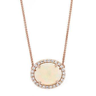 14K Rose Gold Oval Opal and Diamond Halo Necklace, 18""
