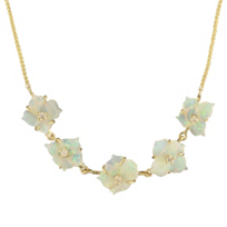 "14K_Yellow_Gold_Diamond_&_Opal_Flower_5_Station_18""_Necklace"