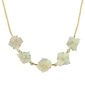 "14K Yellow Gold Diamond & Opal Flower 5 Station 18"" Necklace"