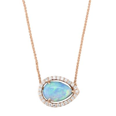 "14K Rose Gold Pear Shaped Opal & Diamond 18"" Necklace"