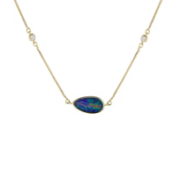 14k_yellow_gold_opal_doublet_and_diamond_4_station_necklace,_18""