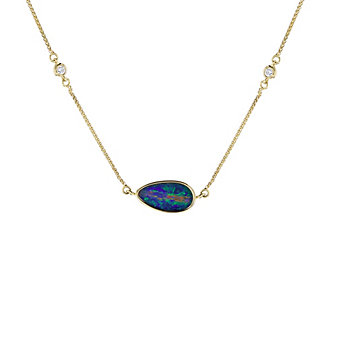 14k yellow gold opal doublet and diamond 4 station necklace, 18""