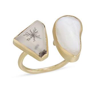 Melissa Joy Manning 14K Yellow Gold Opal & Moss Agate Cuff Ring