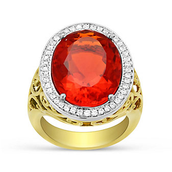 18K Yellow & White Gold Fire Opal and Diamond Halo Ring