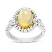 18K_Yellow_&_White_Gold_Oval_Cabochon_Opal_and_Round_Diamond_Halo_Ring