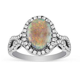 18K White Gold Oval Opal & Diamond Ring