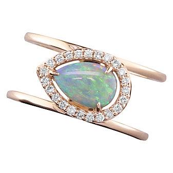 14K Rose Gold Diamond Halo & Opal Pear Shaped Split Ring