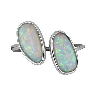 14K White Gold Opal Cuff Ring