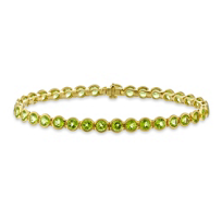 14K_Yellow_Gold_Round_Peridot_Bezel_Set_Bracelet,_7_1/2""