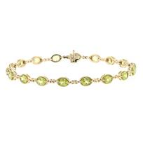 "14k_yellow_gold_oval_peridot_infinity_link_bracelet,_7.5"""