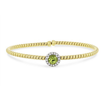 18k yellow and white gold diamond halo and peridot flexible cuff bracelet