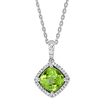 14K White Gold Cushion Checkerboard Peridot and Diamond Pendant