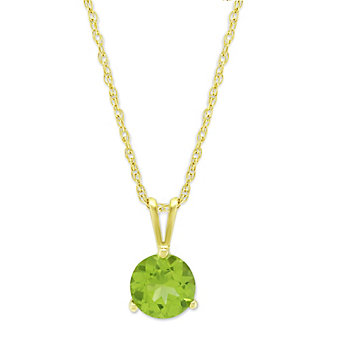 14K Yellow Gold Peridot Solitaire Pendant, 6mm