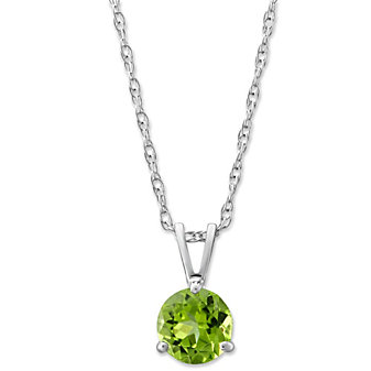 14K White Gold Peridot Solitaire Pendant, 6mm