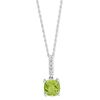 14K White Gold Cushion Peridot and Round Diamond Pendant