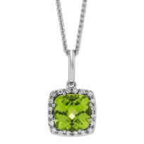 14K_White_Gold_Checkerboard_Cushion_Peridot_and_Round_Diamond_Pendant