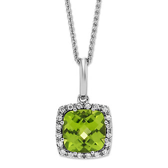 14K White Gold Checkerboard Cushion Peridot and Round Diamond Pendant