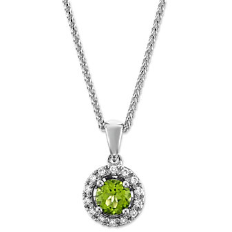 14K White Gold Peridot and Round Diamond Halo Pendant