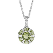 14K_White_Gold_Checkerboard_Round/Oval_Peridot_&_Diamond_Circle_Pendant