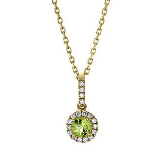 14K Yellow Gold Peridot and Round Diamond Halo Pendant