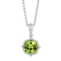 14K_White_Gold_Peridot_Pendant_with_Double_Milgrain,_18""
