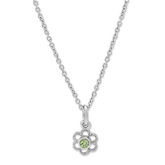 Sterling Silver Child's Peridot Flower Pendant, 15""