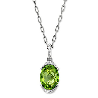 14K White Gold Oval Peridot and Round Diamond Pendant