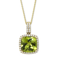 14K_Yellow_Gold_Checkerboard_Cushion_Peridot_and_Round_Diamond_Pendant