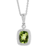 14K_White_Gold_Checkerboard_Peridot_&_Round_Diamond_Pendant,_0.02ct