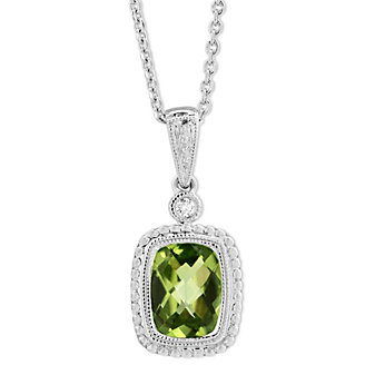 14K White Gold Checkerboard Peridot & Round Diamond Pendant, 0.02ct